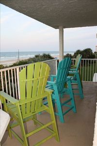 Beach Front Porch w/Adirondack Chairs for morning coffee & afternoon cocktails!