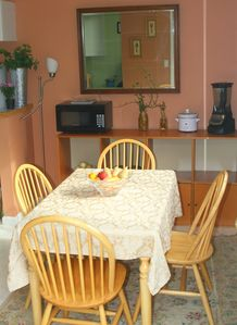 Sit at our dining room table or counter to enjoy meals