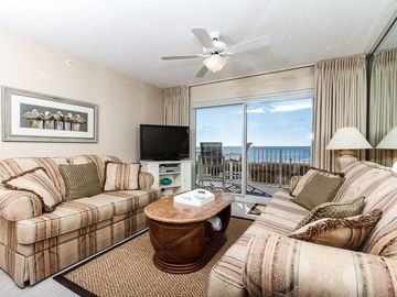 Fort Walton Beach condo rental - Beach front living room with plenty of seating and brand new flo - Beach front living room with plenty of seating and brand new flooring in 2015!