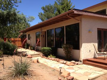 Sedona cottage rental - Front of home, fenced and private.