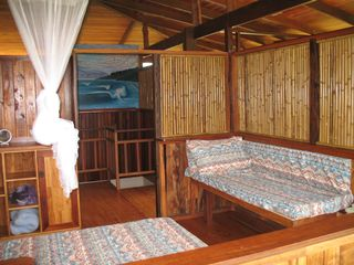 Cabo Matapalo house photo - Second bedroom with double bed, couch,ceiling fan
