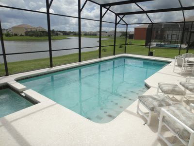 South facing pool and hot-tub overlooking the lake.
