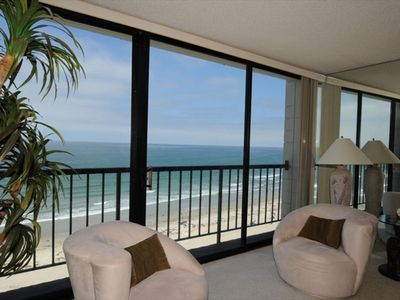 You are 6 floors up looking out onto a beautiful beach and Pacific Ocean