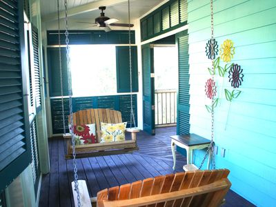 Just-a-swingin' on the upstairs porch