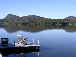 Lake Willoughby cottage photo - Private dock for sitting swimming off of and your boat