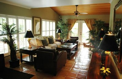 Living Room with Tropical Furnishings