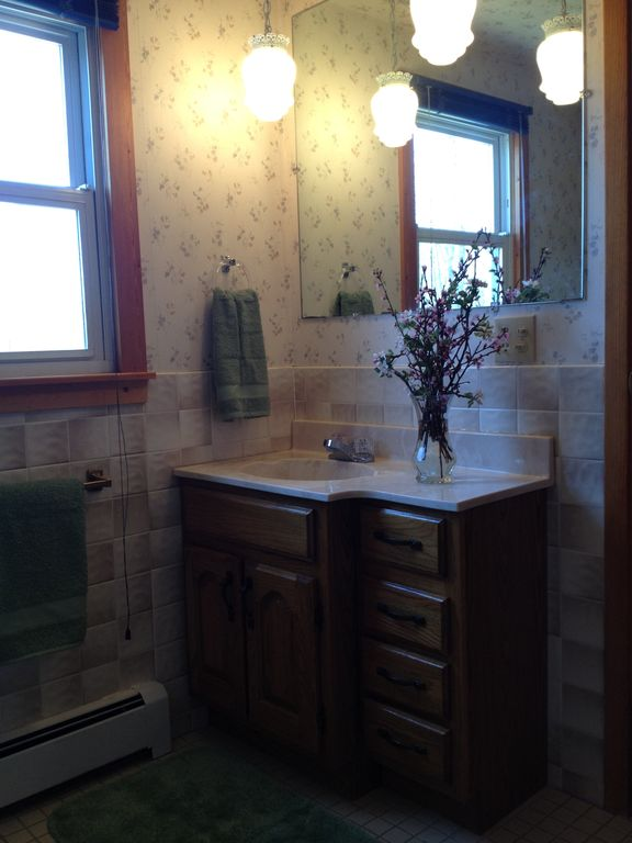Master Bathroom. Uncle Frank's Cabin has 1 1/2 baths