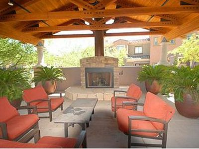 Poolside lounge area including the barbeque that is accessable by all residents.