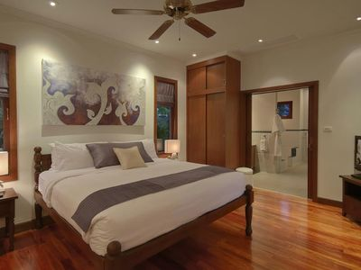 Peace Master guest room. The king size teak bed invites deep restful sleep