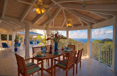 Chocolate Hole villa rental - Ocean View Dining in the Gallery