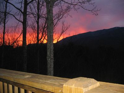 Smoky Mountains fiery sunrise, from the deck of The Gatlinburg Lodge