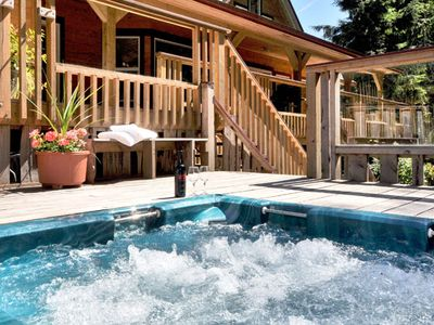 Bask in the soothing warmth of an outdoor hot tub.
