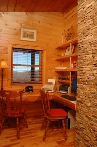 Clayton cabin rental - Office behind fireplace