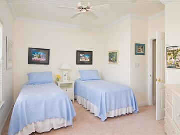 Key West themed twin guest bedroom