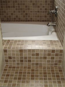 Up stair bathroom with deep tub.