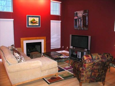 open family room with gas fireplace/Plasma TV w/ digital cable