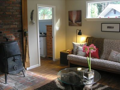 Livingroom showing woodstove