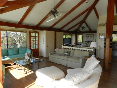 Little Compton cottage rental - Great Room View of Gathering area toward bed nook