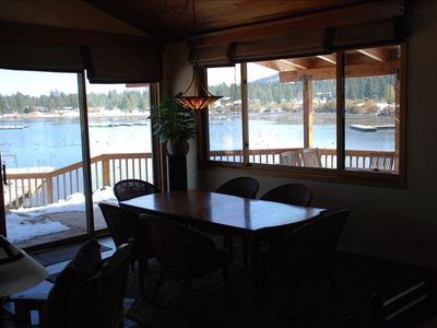 Dining table in great room. On the covered deck is another table that seats 10.
