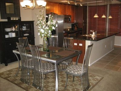 Dining room and island, perfect for entertaining and relaxing.