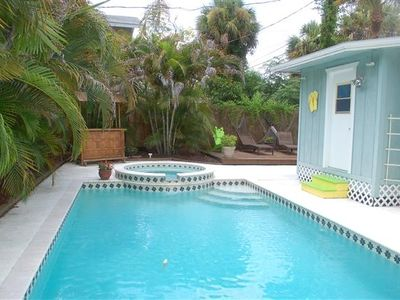 Relax in the heated pool and spa near your tiki hut and sun deck..