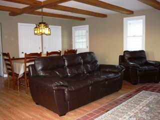 Harpers Ferry house photo - Luxurious leather sofa and chair in the great room