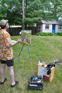 A common summer activity: plein air painting in the back yard.