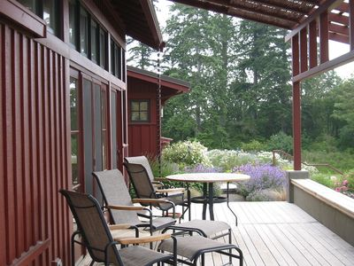 Sequim house rental - Fully covered deck/porch facing mountain views to the south