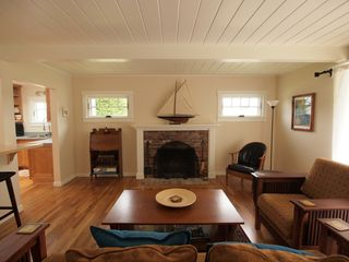 Pacific Grove house photo - Great room with cozy seating area and fireplace.
