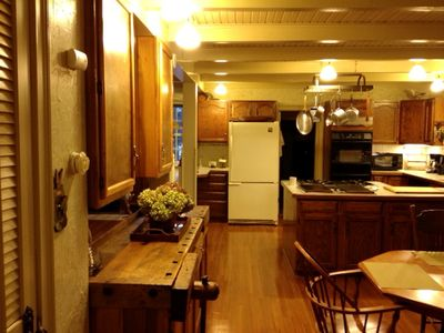 South Haven cottage rental - open kitchen and eating area