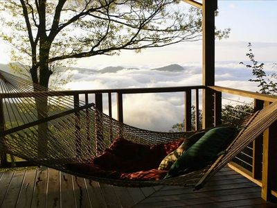 Relax on the spacious deck and enjoy 75 mile Views over Pisgah Forest