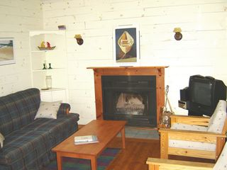 Mahone Bay property rental photo - The comfortable living room and wood burning fireplace