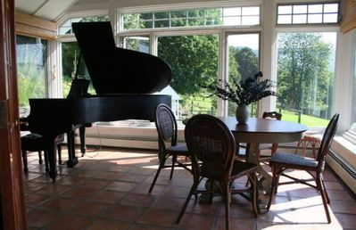 Woodstock house rental - Piano room off kitchen, with breakfast/game table