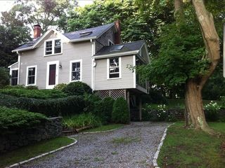 West Falmouth house rental - Front view, driveway; detached studio to right