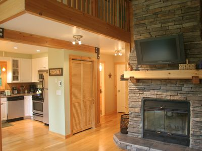 Wood Stove Fireplace with flat screen tv