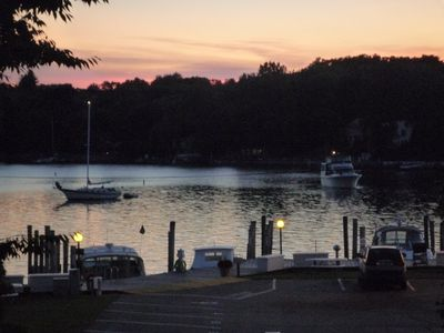 View of harbor at Evening from kitchen/deck.