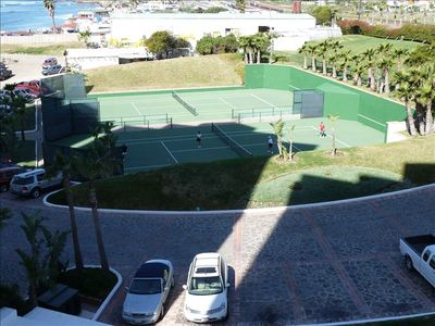 View of tennis court from rear deck