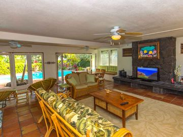 Main Living Area with Lots of Seating, Views and Access to Salt Water Pool