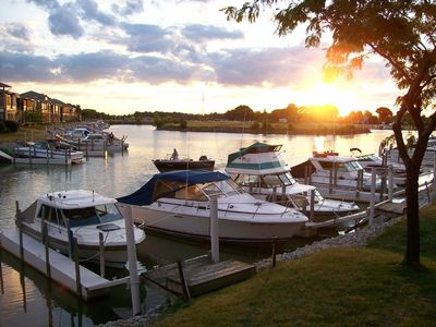 Oak Harbor condo rental - Dock at sunset