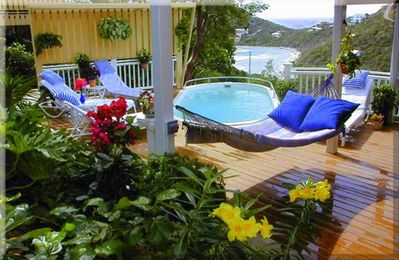 Pool area and Sun deck with view to Hart Bay