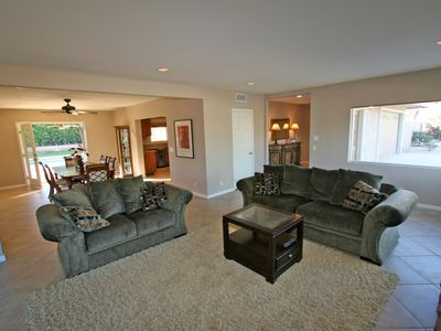 Palm Desert house rental - Living room. Kitchen, dining room and pool are just steps away.