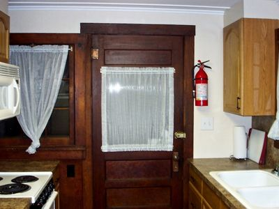 Estes Park cabin rental - Kitchen Back Door