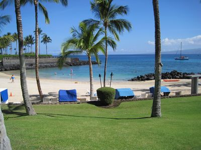 Private Mauna Lani Beach Club features showers, restrooms, restaurant, rentals