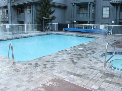 Whistler condo rental - Heated year-round pool with 2 hot tubs, change and bathroom facilities.