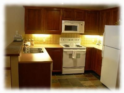 Solitude condo rental - The kitchen is fully stocked with cutlery and cookware for home cooked meals.