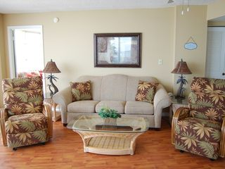 Daytona Beach condo photo - Oceanfront Living Room New Furniture, Kick your feet up on the Comfy Recliners
