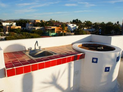 We have a sink and BBQ upstairs with the amazing ocean views.