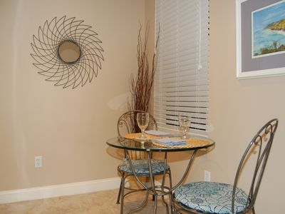 A bistro table in the kitchen expands your dining options, a cozy spot for two.