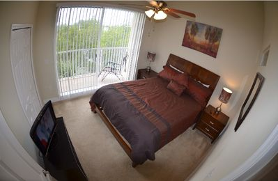 Tampa townhome rental - Master Bedroom . 1 Queen size bed, LCD-TV,Large Balcony