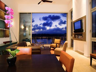 Great Room and looking out onto Private Lanai over Kalapaki Bay